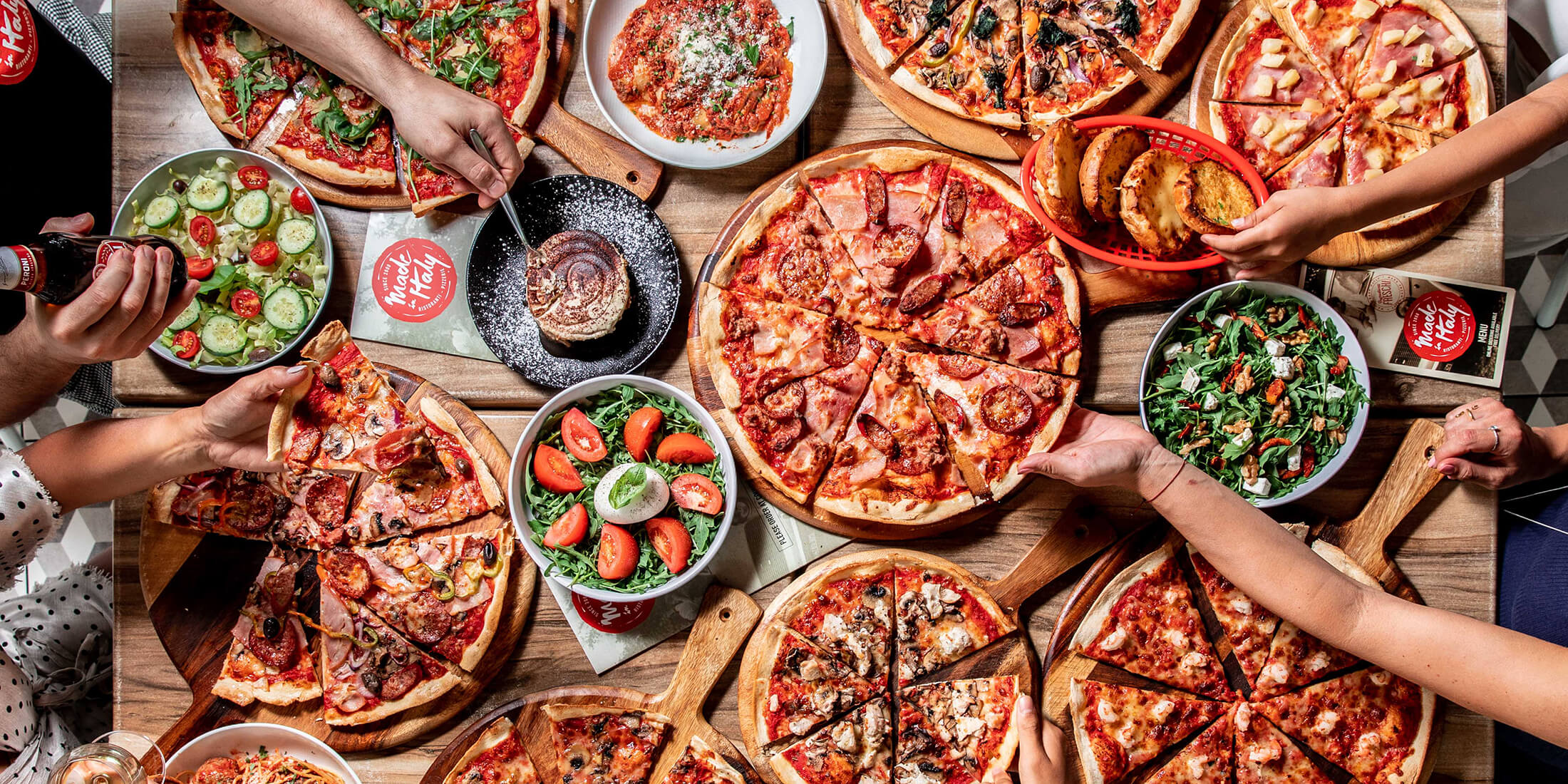 Made in Italy is an Italian restaurant in Alexandria serving pizza and pasta including take away.